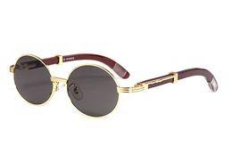 lentes de circulo gafas de sol Rebajas Moderno marco de madera completa con borde negro oro marrón Buffalo Horn gafas de sol unisex redondo oval círculo lentes