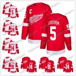 Detroit Red Wings 2018 Nuovo Marchio   5 Nicklas Lidstrom 14 Brendan  Shanahan 24 Chris Chelios 91 Sergei Fedorov Rosso Bianco Hockey Jersey  cucito sconti ... b87701bfe