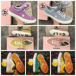 Wholesale Lime Green Flowers - 2018 Converse One Star x Golf le Fleur Chuck Tay Lor Yellow Casual Flowers Fur Designer Running Skateboard Shoes Sneakers 35-44