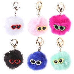 Wholesale Glass Ball Pendant Light White - THINKTHENDO Hot Rabbit Glasses Fur Ball Bag Pendant PomPom Handbag Black Royal blue Light green Hot pink Pink White