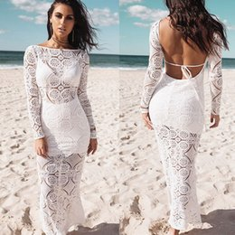 Wholesale Hot Sexy Ladies Wholesale Clothing - New Fashion Women Sexy Summer Ladies Long Dress Lace Sundress Dresses Long Sleeve Hot Casual Backless Solid Clothes