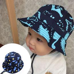 Wholesale dinosaur kids hat - Baby Kids Dinosaur Sun Cap Beanie Cap With String Outdoor Cotton Bucket Hat Unisex Summer Beach Sun Cap NNA397