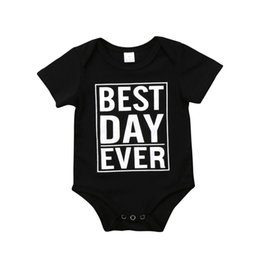 8455ed512bf2d 2018 Newborn Baby Boy Girl Kid T-shirt Short Sleeves Black Cotton Best Day  Ever Jumpsuit Bodysuit Outfit Casual Summer Clothes