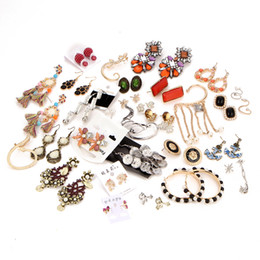 Wholesale Earring Resin Dangle - Bulk Lots Retro Glass Resin Drop Earring Studs Alloy Rhinestone Chandelier Bohemia Punk Ethnic Mixed Designs Alloy Dangles