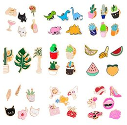 Wholesale wholesale fruit gifts - 2018 106 styles enamel colorful Lapel pins Badge Backpack Shirt Collar Decor Bird Flower Tree Fruit Bee Ice Cream Guitar Pencil 91