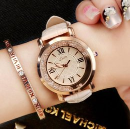 Wholesale Ladies White Leather Watch - Hot Luxury Brand Diamond Fashion Rhinestone Watch Leather Casual Dress Women's Quartz-watch Crystal Ladies Wristwatch drop ship