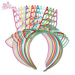 diy fita rosa headband Desconto XIMA 6 pçs / lote Meninas Unicórnio Chifre Headband Lindo Cabelo Hoops Rainbow Unicórnio Headband De Plástico para Decoração de Festa Suprimentos