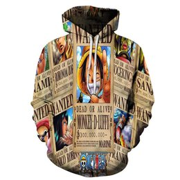 Wholesale Hat Tee - 2017 new fashion Cool sweatshirt Hoodies Men women 3D print One Piece Luffy pictur Tee hot Style Streetwear Long sleeve clothing