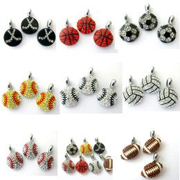 Wholesale football collar - 10pcs Baseball Football Hang Pendant Charms Fit Pet Collar Phone Strips Rhinestone Hang Pendant Charms Fit Pet Collar Phone Strips Neckllace