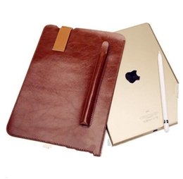 Wholesale Ipad Briefcases Leather - For ipad pro10.5 9.7 12.9 Laptop Case Super Soft High Quality With Pen Pocket & Handle Leather Sleeve Bag