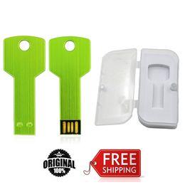 Wholesale pen drive free shipping - Green Key Brand NEW USB Flash Drives 16GB 32GB 64GB Metal Pen Drive Free shipping USB 2.0 High speed EU024