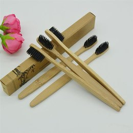 Wholesale Toothbrush Tongue Cleaner - Pure Nature Bamboo Toothbrushes Tongue Cleaner Denture Teeth Travel Kit Charcoal Tooth Brush 100Pcs Made in China