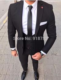 785de7fa9b20 2018 formaler schwarzer mantel für männer Neuesten Mantel-Hose Designs 2018  Kostüm Homme Mariage Schwarz