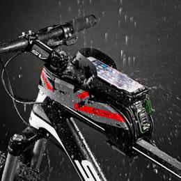 2019 sacchetti di bicicletta all'ingrosso Commercio all'ingrosso MTB Road Bicycle Bike Borse Antiurto Touch Screen Ciclismo Top Front Tube Frame Borse 5.8 / 6.0 Custodia per cellulare Accessori bici sacchetti di bicicletta all'ingrosso economici