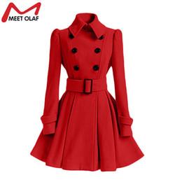 Wholesale Vintage Coat Xs - Wholesale- Women Trench Coat Winter Belt Buckle TrenchCoat Double-Breasted Vintage Coat Casual Windbreaker Woolen Blend Outwear Cloak YL376