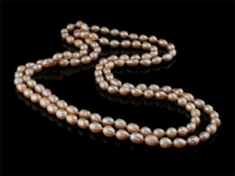 Wholesale Grade Aa - whole saleNatural Freshwater Pearl Necklace,hot sale, Oval, pink, AA Grade, 7-8mm, Length:47 Inch, Sold By Strand