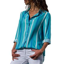 mais blusa de colar de tamanho alto Desconto Listrado Impresso Blusa Das Senhoras 2018 de Alta Qualidade Manga Comprida Blusa Turn Down Collar Escritório Das Mulheres Camisas Casual Plus Size