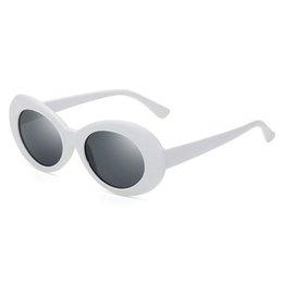 Wholesale Trendy Round Glasses - Clout goggle Kurt Cobain glasses oval sunglasses ladies trendy 2018 hot Vintage retro sunglasses Women's white black eyewear UV400