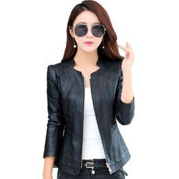 2019 chaqueta de cuero mujer s morado Ropa de abrigo de gran tamaño 4XL otoño damas corto delgado chaqueta de cuero genuino 2018 nueva moda chaqueta de cuero mujer Jaqueta De Couro
