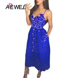 e4afd37114 ADEWEL Elegant Women Royal Blue Lace Party Dress Sexy Hollow Out Nude  Illusion Midi Dresses Ladies Backless Skater A-line Dress