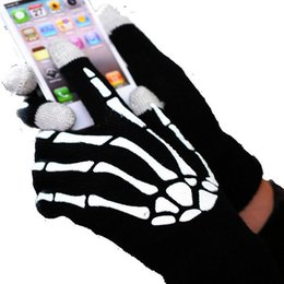 Wholesale Skeleton Touch Screen Gloves - Wholesale-IGlove Hand Bone Gloves Screen touch gloves Winter Gloves Skeleton head Three finger touch screen