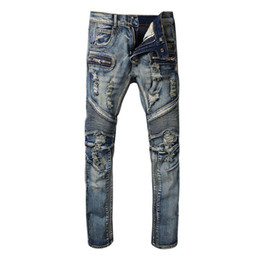 Wholesale blue skinny jeans - Balmain Fashion New mens Biker Jeans Motorcycle Slim Fit Washed Blue Moto Denim skinny Elastic Pants Joggers For Men jeans