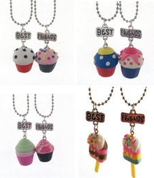 Wholesale Cup Chain Settings Wholesale - Best Friends Pendant Cute Child Jewelry Polymer Clay Emulation Paper Cup Cream Cake Necklaces BFF Jewelry New Hot Jewelry Set