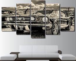 Tela verniciata auto online-Modulare HD Print Artwork Modern Sports Car Poster Home Decor Wall Art 5 Pezzi Immagini 1965 Ford Mustang Canvas Painting PENGDA