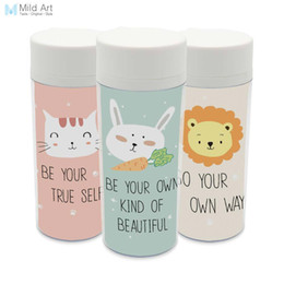 Wholesale Kids Drinking Bottles - Plastic Insulated Modern Kawaii Animals Rabbit Lion Cats Kids Water Bottles 300ml Gifts BPA Free With Lid Clear Personalized