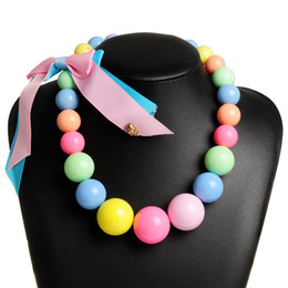 Wholesale candy jewelry for kids - Lovely Rope Bow Chunky Necklace Kids Candy Color Bubblegum Beaded Necklace for Baby Girl Toddler Jewelry N0030