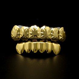 Wholesale black body molding - 24K Gold Hip Hop High Quality Rapper Bling Teeth Grill Top & Bottom Set with Free Molding Bars Body Jewelry Dental Grills