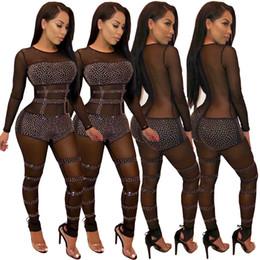 2018 Superbes Cristaux Perlés Noir Sexy Femmes Combinaisons Barboteuses Sexy Voir à Travers Manches Longues Col Rond Diamants Pantalons Club de Nuit ? partir de fabricateur