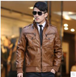 Wholesale Nice Jackets - Wholesale- Nice New Men's Brand Washed Leather Jacket Fashion Retro Thickening Motorcycle Leather Jacket Men Winter Plus Size Leather Coat