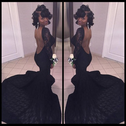 Wholesale Blue American Prom Dress - Sexy Open Back Lace Prom Dresses Mermaid Crew Neck Long Sleeves Appliques Evening Party Gowns 2018 Fashion African American Red Carpet Dress