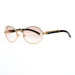 Wholesale Natural Resin - Luxury Black Buffalo Horn Brand mens Sunglasses designer Optical Glasses 18K Gold Oval Frame White Natural Horn Sunglasses for women