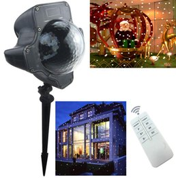 Discount snowflake projector lights - Snowfall LED Lights Christmas waterproof Rotating Fairy Snowflake Projector Lamp with Wireless Remote EU US plug for Xmas