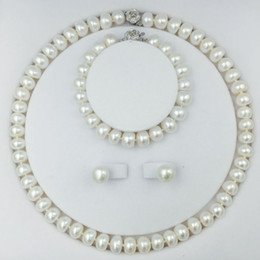 11мм жемчужные серьги Скидка Classical freshwater pearls bead jewelry Set with 18inch necklace earring bracelet 9-11mm pearls chokers sterling silver lock