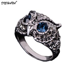 new eye ring men fashion Promo Codes - Fashion Brand Design New Couple Rings Colorful Rhinestones Crystals Blue Eyes Owl mood Ring For Women  Men Anelli(KA0005-3)