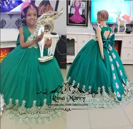 Principessa verde ragazze africane pageant abiti 2020 ball gown buco della serratura posteriore nodo fiocco pizzo glitz bambino neonato bambina pageant abito taglia 10 da