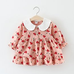 Vestiti da bambina di anni online-Baby Dress Cotton Dress 1 Year Old Baby Girls rosa New Born Girl vestiti a maniche lunghe Infant Princess Floral