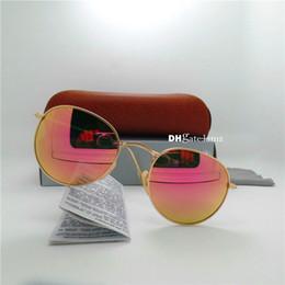 Wholesale Circular Lenses - High Quality Brand Designer Men Women Fashion Sunglasses Glass Lens Round Mirror Circular Metal Frame Cat Eye 51mm Shade Eyewear Brown Case