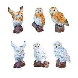 Decorações home dos animais artificiais on-line-6-style mini artificiais animais coruja em miniatura de fadas jardim casa decoração da casa diy artesanato micro paisagismo decoração acessórios