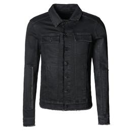 440f1a68f9f6 schwarze jeansjacke Rabatt Männer Schlank Schwarz Lässig Retro Herbst Denim  Einreiher Jacke Männer Europäischen Stil Burr