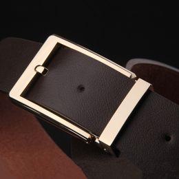 Wholesale Types Belts Men - High Quality Brand Designer Belts Luxury Fashion Top Belts For Men Simple Type Big Buckle Belt Genuine Leather Waist Strap Belt Box