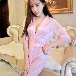 7c8dcd6253a Brand Mid-sleeve Sexy Women Nightwear Robes Women s Short Kimono Style  V-Neck Bathrobes Solid Lace Ice Silk Sashes Sleepwear