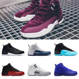 Wholesale Man Online Games - 2018 basketball shoes cheap 12 Playoff mens wool sneaker Black Nylon discount shoes flu game sneaker sports shoes sale online