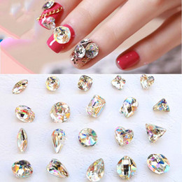 Wholesale Crystal Glass Faceted Stones - wholesale 100 PCS Glass Rhinestones K9 Clear AB Faceted Jewels stones Transparent Rhinestone Nail Art Decoration Nails Art Strass Crystal
