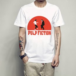 Wholesale Picture Tees - Fun picture t shirt Pulp Fiction short sleeve gown Classic film tees Unisex clothing Quality modal Tshirt