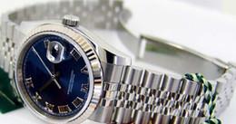 Wholesale watch chest - Wholesale - Luxury WATCH Fashion Watch Silver Stainless Steel Blue Roman Dial 116234 Rehaut WATCH CHEST wristwatch