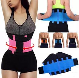 2019 cinturón de apoyo Mujeres Hombres Cintura Ajustable Trainer Trimmer Belt Mejor Fitness Body Shaper Volver Soporte para un reloj de arena Shaper Negro Rosa Verde Azul Amarillo cinturón de apoyo baratos
